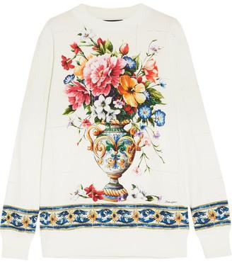 Dolce & Gabbana - Printed Cotton-jersey Sweatshirt - White $745 thestylecure.com