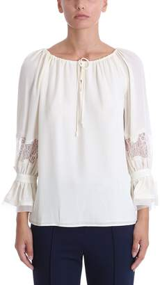 Tory Burch Ivory Silk Loose Fit Blouse