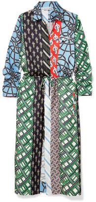 Carven Layered Printed Silk-twill Dress - Blue