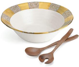 Michael Wainwright Tempio Luna Gold Salad Bowl with Servers