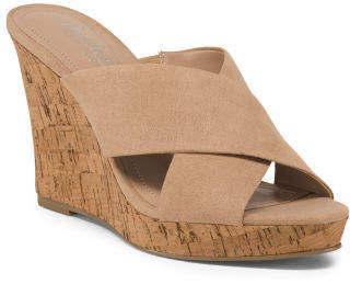 Cross Strap Wedge Slide Sandals