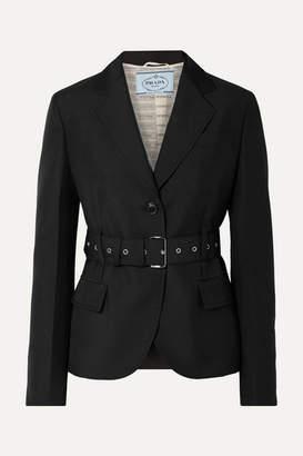 Prada Belted Mohair And Wool-blend Blazer - Black