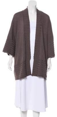 eskandar Wool Rib Knit Open Cardigan