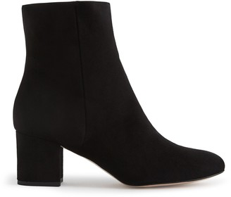 Reiss DELPHINE SUEDE BLOCK HEELED ANKLE BOOTS Black