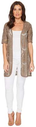 Tribal Embroidered Mesh Elbow Sleeve Cardigan Women's Sweater
