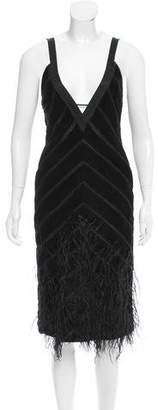 J. Mendel Feather-Trimmed Velvet Mink Dress