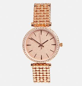 Avenue Rose Gold Beaded Strap Watch