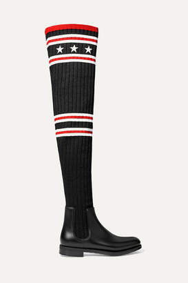 Givenchy Storm Rubber And Ribbed-knit Thigh Sock Boots - Black