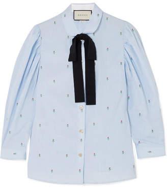 Gucci Grosgrain-trimmed Fil Coupé Cotton Shirt - Light blue