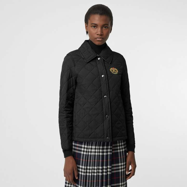 Embroidered Crest Diamond Quilted Jacket