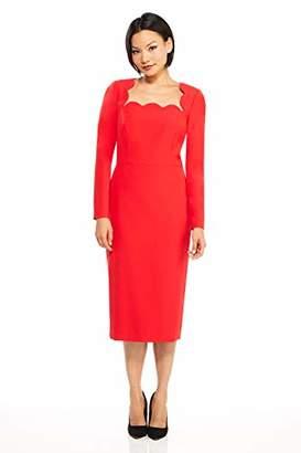 Maggy London Women's Crepe midi Dress with Scallop Neckline