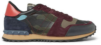 Valentino Garavani Rockrunner Camouflage-Print Canvas, Leather and Suede Sneakers - Men - Green