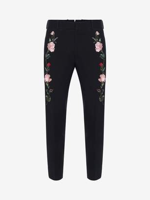 Alexander McQueen Rose Embroidered Tuxedo Pants