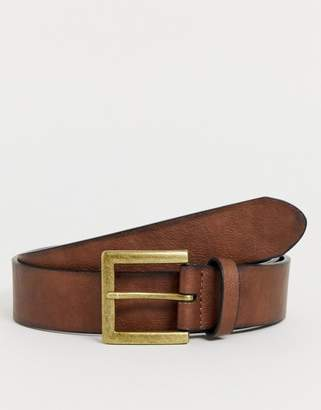 Asos Design DSEIGN faux leather wide belt in brown with burnished edges and vintage gold burnished buckle