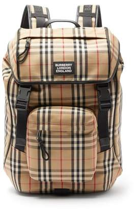 Burberry Rocky Vintage Check Canvas Backpack - Mens - Beige