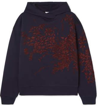 Dries Van Noten Harlee Embroidered Cotton-jersey Hoodie - Navy
