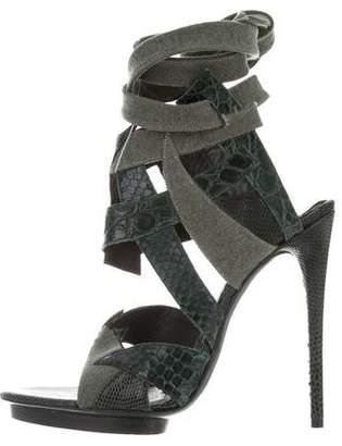 Balenciaga Crocodile Cutout Sandals