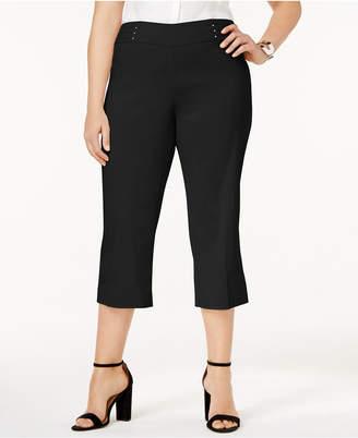 JM Collection Plus & Petite Plus Size Tummy Control Pull-On Capri Pants