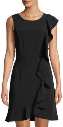 Kensie Sleek Stretch-Crepe Ruffle Short Dress