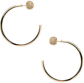 Rebecca Minkoff Pave Ball Topped C Hoops