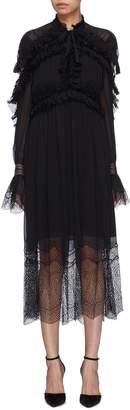 Jonathan Simkhai Lace panel ruffle drape back silk dress