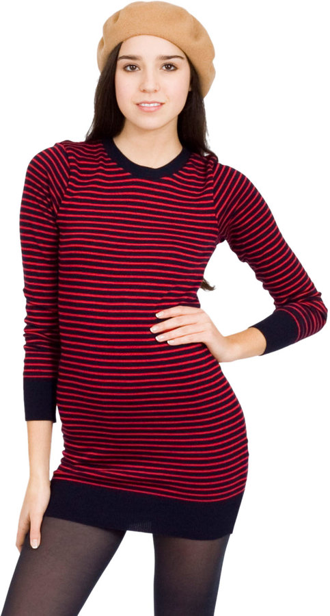 American Apparel Knit Stripe Sweater Crew Neck Dress