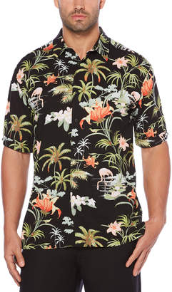 Cubavera Big & Tall Flamingo Tropics Scenic Printed Shirt