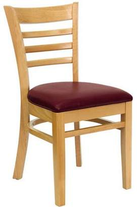 Flash Furniture Ladder Back Chairs - Set of 2, Natural / Burgundy Vinyl Seat