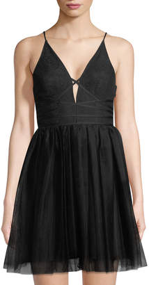 BCBGeneration Lace-Up Tutu Mini Dress