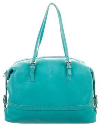 Fendi Textured Leather Shoulder Bag Blue Textured Leather Shoulder Bag