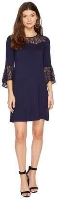Kensie Drapey French Terry Dress with Lace Detail KS8K9888 Women's Dress