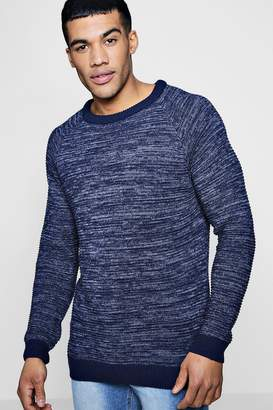 boohoo Raglan Ribbed Knitted Crew Neck Jumper