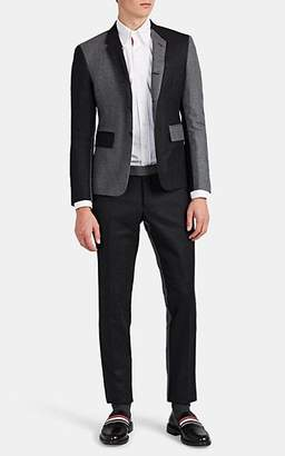Thom Browne MEN'S HIGH-ARMHOLE TWO-TONE WOOL THREE-BUTTON SUIT - GRAY SIZE 4
