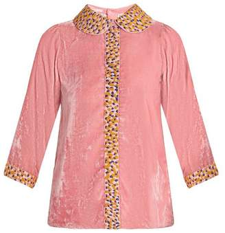 Jupe By Jackie - Holi Embroidered Silk Velvet Top - Womens - Pink Multi
