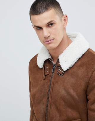 Asos DESIGN faux shearling biker jacket with fleece collar in tan