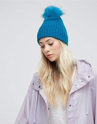 Asos Bright Blue Rib Beanie With Faux Fur Pom