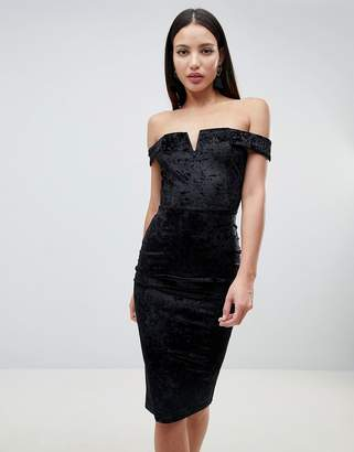 AX Paris Bardot Velvet Midi Dress