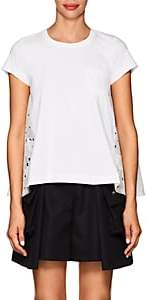 Sacai WOMEN'S HEART-EMBROIDERED-BACK COTTON T-SHIRT-WHITE SIZE 1