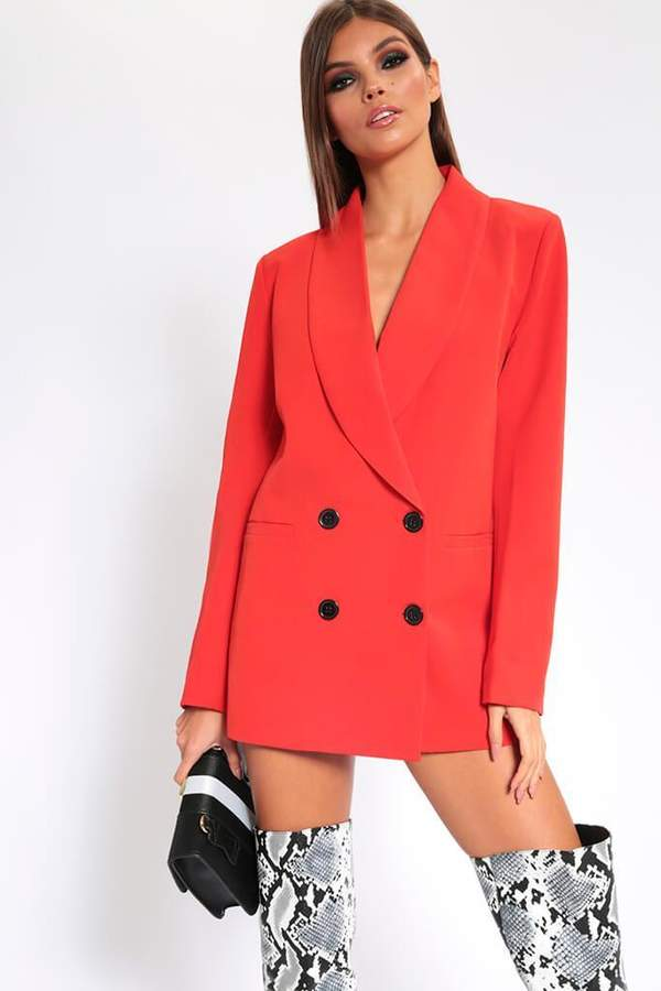Isawitfirst Red Oversized Fitted Blazer