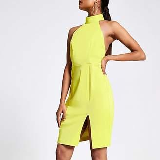 River Island Petite lime cut out back bodycon dress