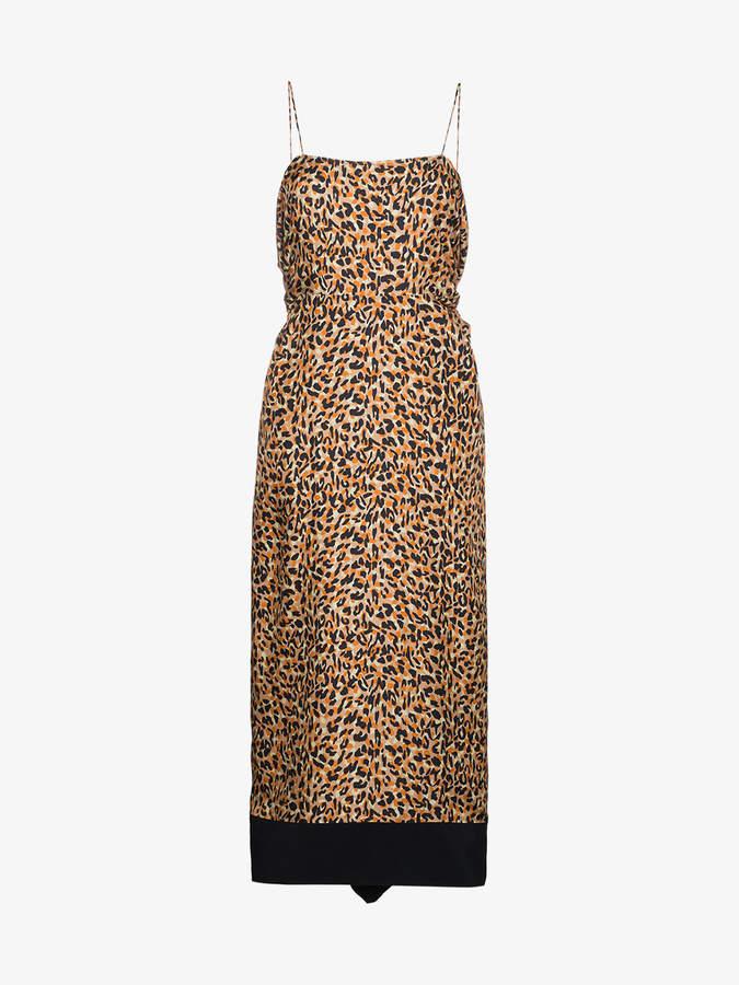 Dica leopard print silk fitted dress