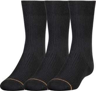 Gold Toe Big Boys'3 Pack Microfiber Dress Crew Sock
