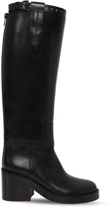 Ann Demeulemeester 75mm Brushed Leather Riding Boots