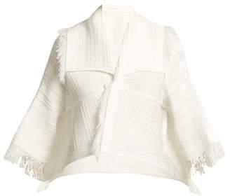 Issey Miyake Fringed Pleated Cropped Jacket - Womens - White