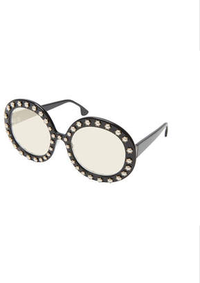 ab1b73347e Alice + Olivia Bel Air Round Pearlescent-Trim Sunglasses