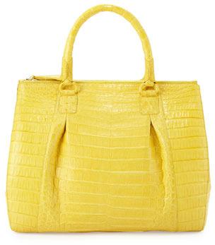 Nancy Gonzalez Plisse Large Crocodile Tote Bag, Yellow
