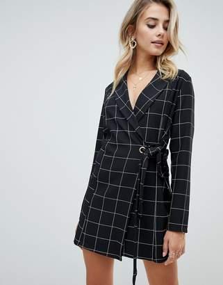 PrettyLittleThing tie side blazer dress in black check