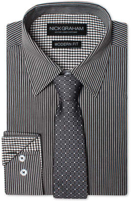 Nick Graham Men Modern Fitted Striped Dress Shirt & Grid Tie Set