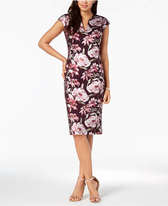 Connected Floral-Printed Sheath Dress