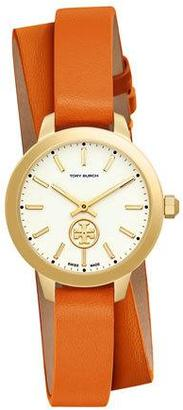 Tory Burch Collins Orange Double-Wrap Leather Two-Hand Watch $295 thestylecure.com